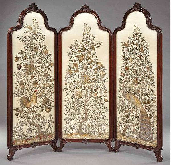 антикварная ширма (Восточная Европа 18 век)